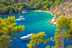 Secret turquoise beach yachting and sailing Royalty Free Stock Photography