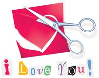 Secret valentine message. Love letter cutted with scissors Royalty Free Stock Images