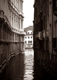 Secret View. This is the view to the Grand Canal from the small bridge behind the Ca'Pesaro in Venice, Italy. Shot on medium-format black and white film, scanned Royalty Free Stock Photography
