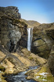 The Secret Waterfall of Kvernufoss in Southern Iceland. Stock Image