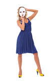 Secret woman. Sexy woman with white mask and blue dress Royalty Free Stock Photo