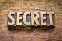 Secret word abstract in wood type stock photography
