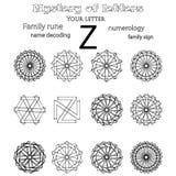 Secret of words, runes astrology personal amulet. Cabbalism, numerology esoterics Stock Photos