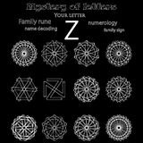 Secret of words, runes astrology personal amulet. Cabbalism, numerology esoterics Stock Images