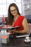 Secretaresse in het werk Stock Foto's