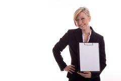 Secretaresse met een blocnote Royalty-vrije Stock Foto's