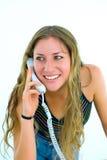 Secretaresse met witte telefoon Stock Foto's