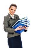 Secretaresse, reusachtige stapel van administratie Stock Foto's