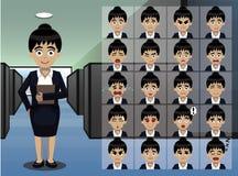 Secretaria Cartoon Emotion de la mujer de negocios hace frente al ejemplo del vector Imagenes de archivo