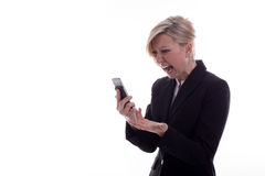 Secretaria de griterío con el teléfono Fotografía de archivo