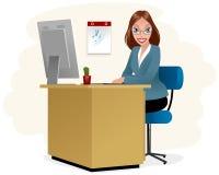 Secretaria en el lugar de trabajo stock de ilustración