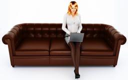Secretaria en el sofá Fotos de archivo