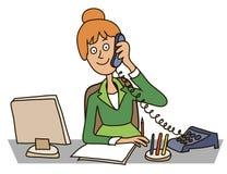 Secretaria en la oficina stock de ilustración