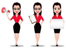 Secretaria en ropa del estilo de la oficina ilustración del vector