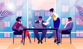 Secretaria Giving Paper Document Boss en oficina stock de ilustración