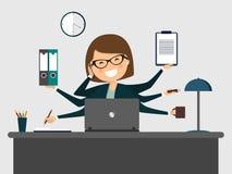 Secretaria ocupada que sonríe con el ordenador portátil stock de ilustración