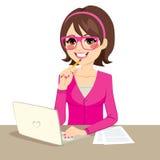 Secretaria rosada linda ilustración del vector