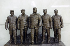 Secretariat of ccp statue. Five member of the secretariat of chinese communist party, 1949. from left zhude, liushaoqi, maozedong, zhouenlai, renbishi Royalty Free Stock Images