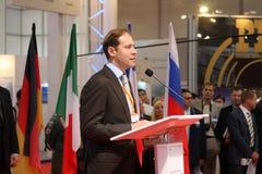 Secretario de estado de la industria y Denis Manturov Fotos de archivo