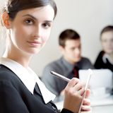 Secretary. Bussinessman and two businesswomen working at office Royalty Free Stock Photo