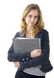 Secretary. Young secretary or businesswoman in suit with notebook Royalty Free Stock Photos