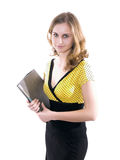 Secretary. Young secretary or businesswoman in suit with notebook Stock Photos