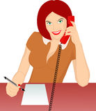 Secretary. Answering phone and recorded Royalty Free Stock Photo