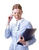 Secretary. Young woman in glasses with folder in her hands, isolated on white Stock Image