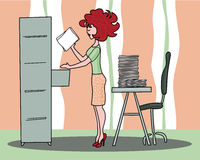 Secretary. Illustration that represents a young secretary intent to file documents Royalty Free Stock Image