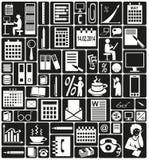 Secretary and accountant. White icons on black background accountant and secretary Stock Photos