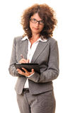 Secretary adult woman memo tablet pc Royalty Free Stock Photo