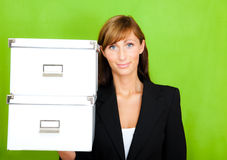 Secretary archive. Businesswoman ready for archive your paper financial backup as secretary stock photo