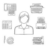 Secretary or assistant profession sketch icons Stock Images