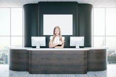 Secretary at black reception. Confident young secretary at black reception desk. 3D Rendering Stock Image