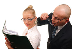 Secretary and boss Royalty Free Stock Images