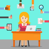 Secretary. Busy woman for office work Stock Images