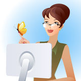 Secretary and butterfly. Illustration of secretary woman looking at butterfly on her finger Stock Photos