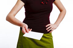 Secretary with a card. Giving an invitation card on white stock images