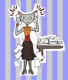 Secretary Cat Illustration Stock Photo