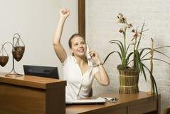 Secretary Celebrating Stock Image