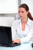 Secretary with computer Stock Photos