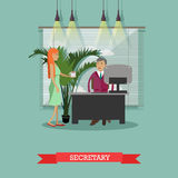 Secretary with cup of coffee, vector illustration in flat style Royalty Free Stock Images