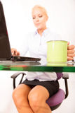 Secretary with a cup of coffee Stock Photo