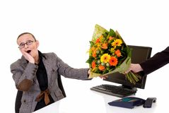 Secretary day, flowers on desk Stock Photography