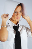 Secretary with draft conceal oneself. Beautiful secretary with draft conceal oneself stock photography