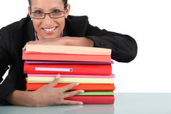 Secretary with folders Stock Photos
