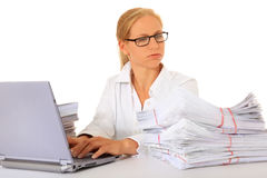 Secretary got a lot of work to do stock images