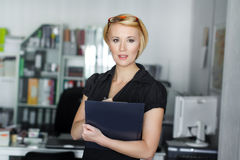 Secretary holding business plan Stock Photos
