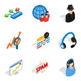 Secretary icons set, isometric style. Secretary icons set. Isometric set of 9 secretary vector icons for web isolated on white background Royalty Free Stock Image