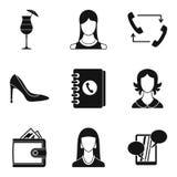 Secretary icons set, simple style Royalty Free Stock Images